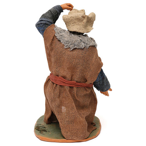 STOCK Pastore inginocchiato vestito in terracotta 30 cm Presepe Napoletano 5