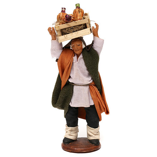 STOCK Merchant with bottles, Neapolitan Nativity scene 12 cm 1