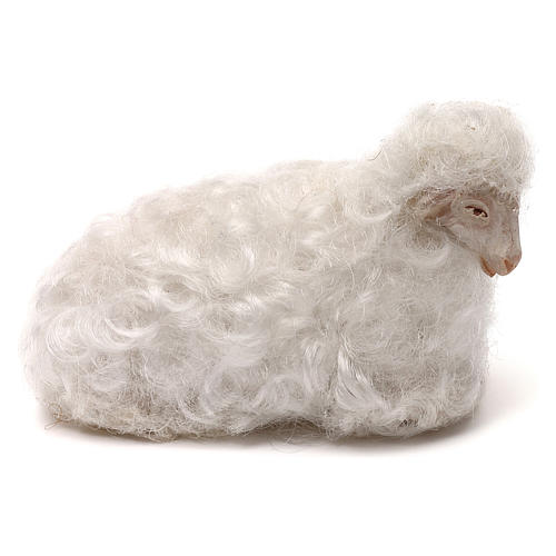 STOCK Sheep with white wool, Neapolitan Nativity scene 14 cm 1