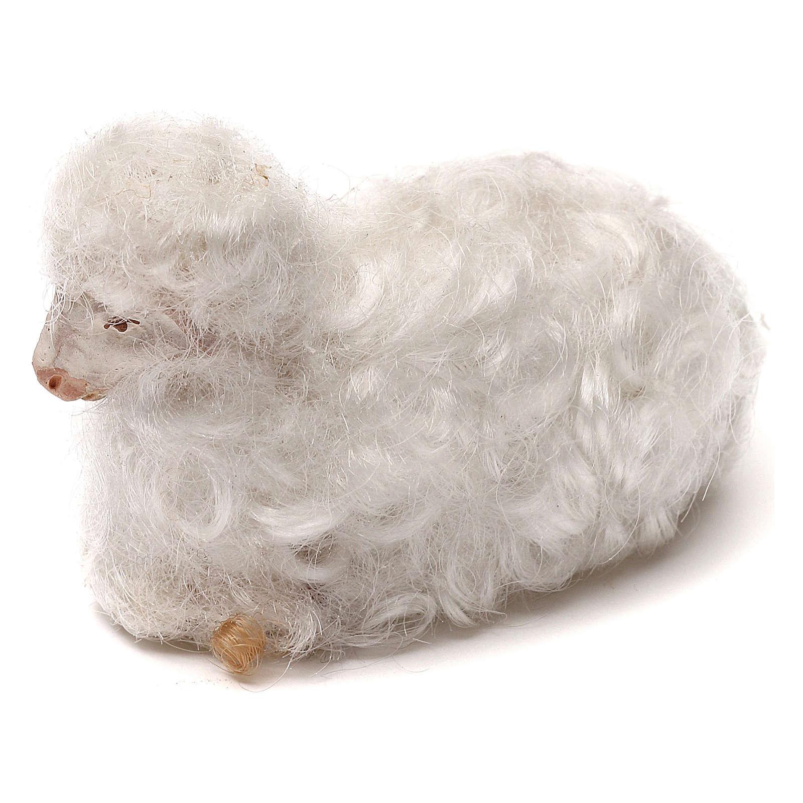 STOCK Pecora lana bianca presepe napoletano 14 cm 4