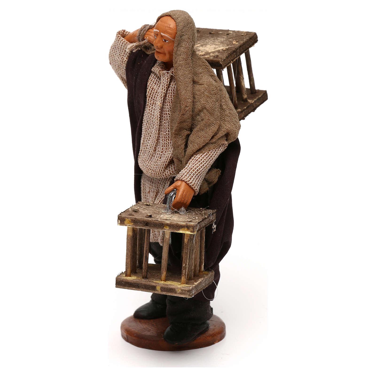 Uomo 2 gabbie legno presepe napoletano 12 cm 4