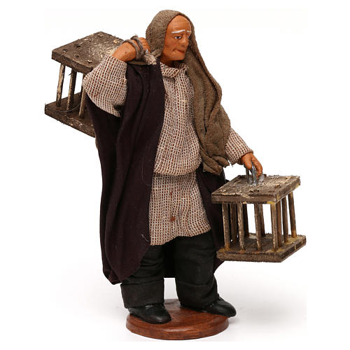 Uomo 2 gabbie legno presepe napoletano 12 cm 3