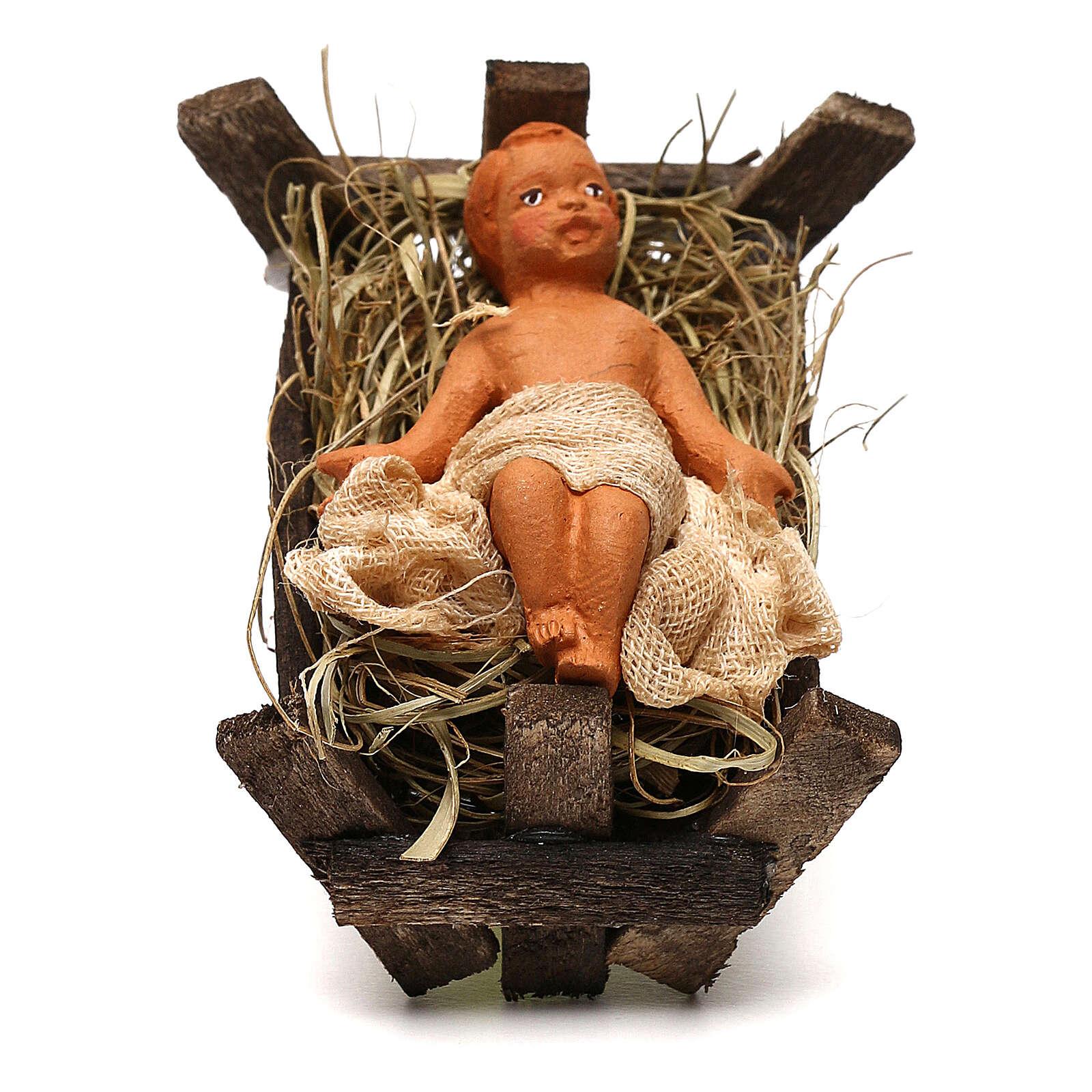 Baby Jesus in the manger, Neapolitan Nativity scene 10 cm 4