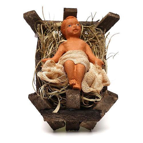 Baby Jesus in the manger, Neapolitan Nativity scene 10 cm 1