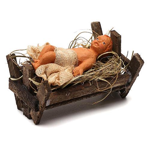 Baby Jesus in the manger, Neapolitan Nativity scene 10 cm 2