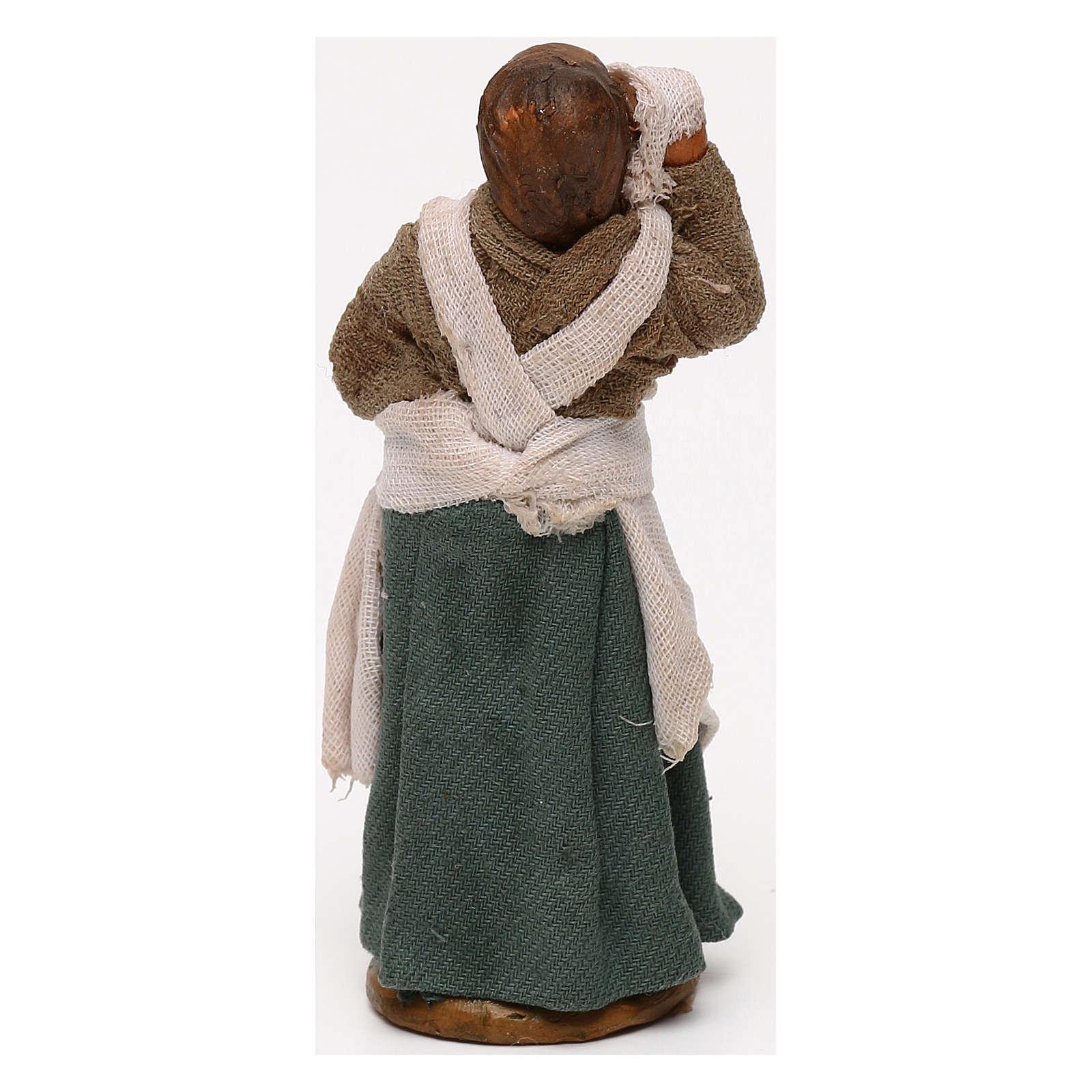 Donna mano in fronte presepe napoletano 10 cm 4