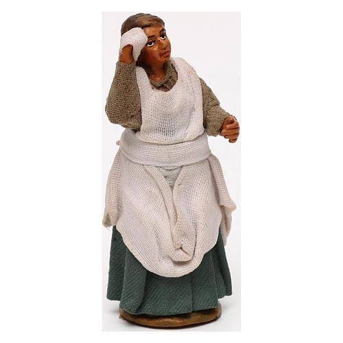 Donna mano in fronte presepe napoletano 10 cm 3