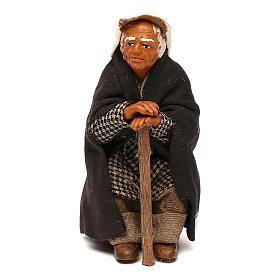 Viejo sentado con bastón belén napolitano 10 cm s1