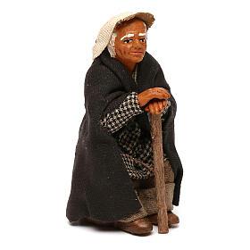 Viejo sentado con bastón belén napolitano 10 cm s3