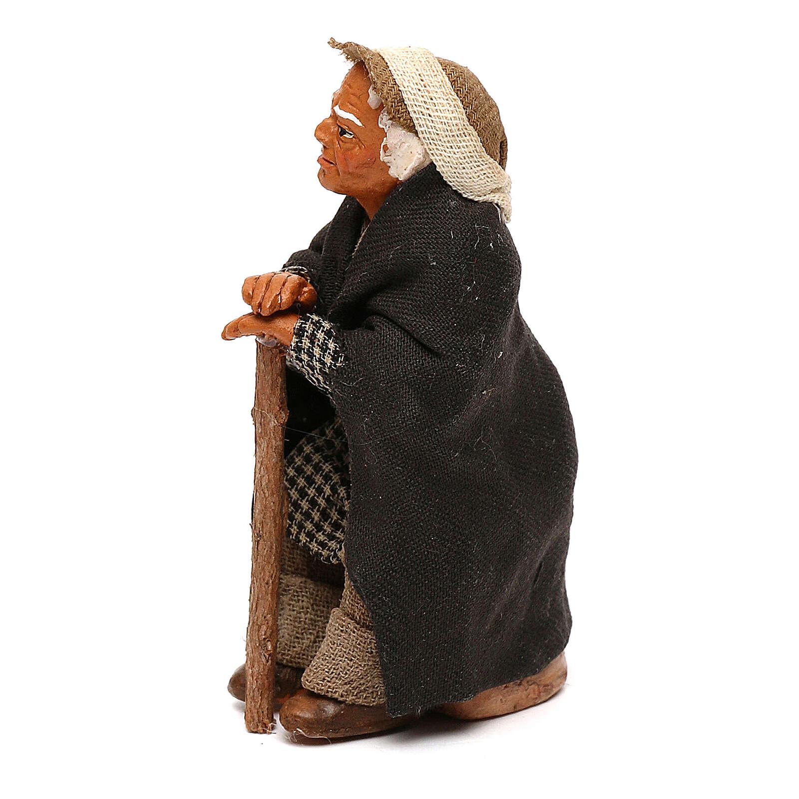 Vecchietto seduto con bastone presepe napoletano 10 cm 4