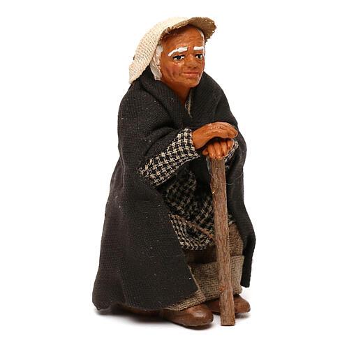 Vecchietto seduto con bastone presepe napoletano 10 cm 3