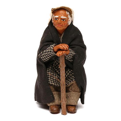 Old man sitting with cane, 10 cm Neapolitan nativity 1