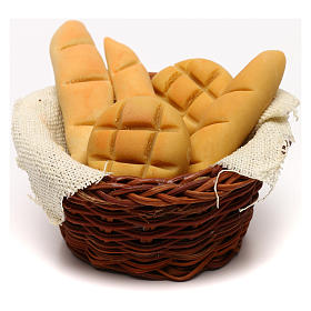 Presépio Napolitano: Cesto redondo de pão para presépio napolitano com figuras de 24 cm de altura média