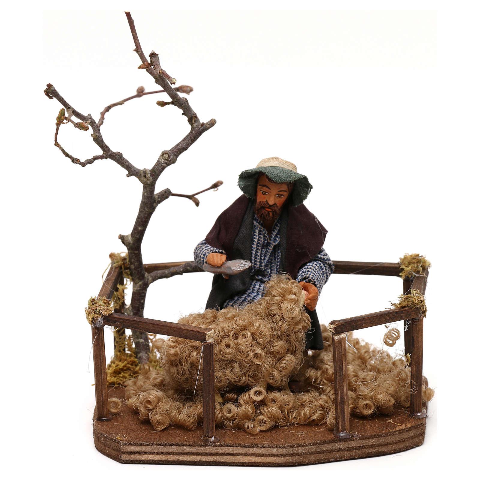 Tosatore di pecora lana presepe napoletano 10 cm 4