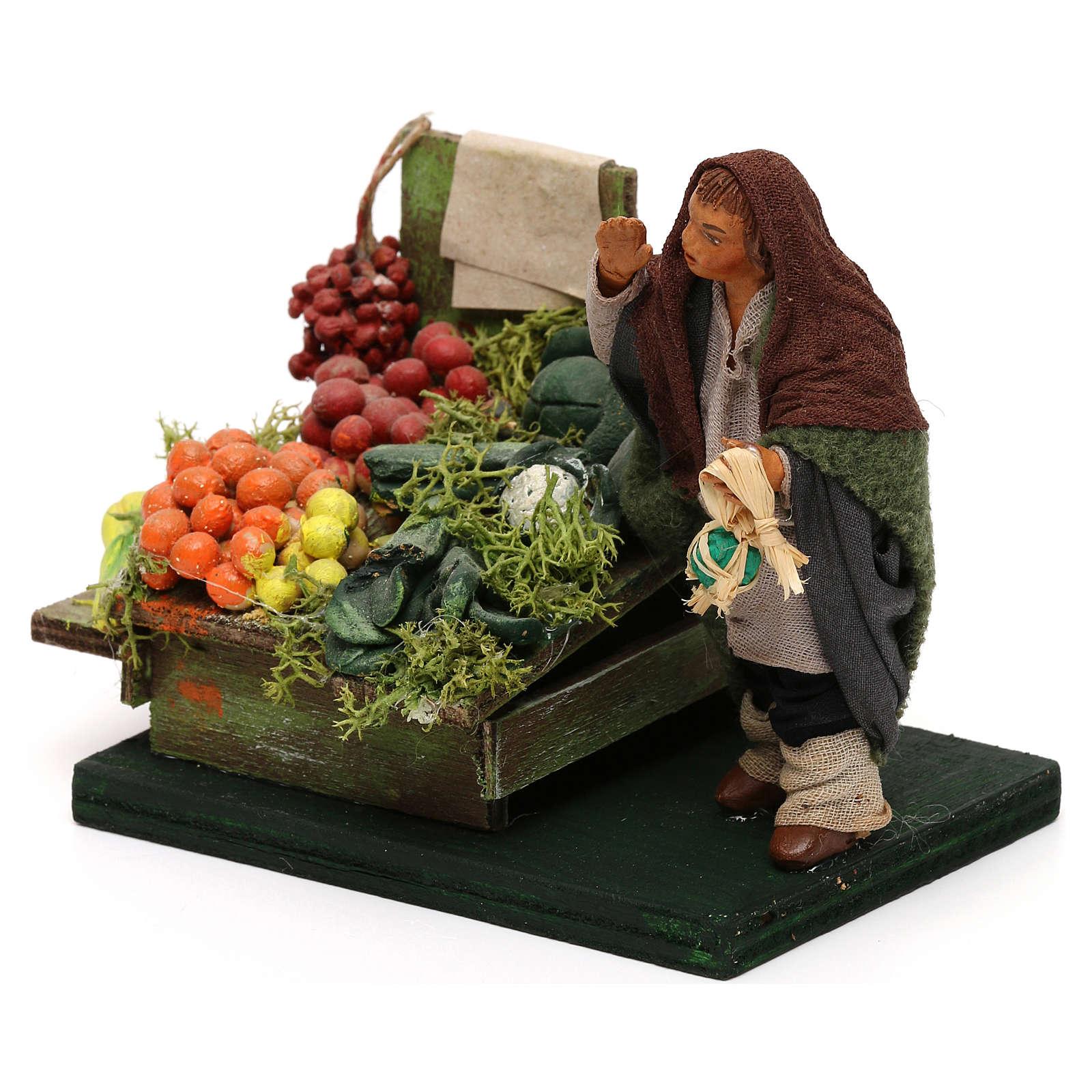 Fruttivendolo banco frutta e verdura presepe napoletano 10 cm 4