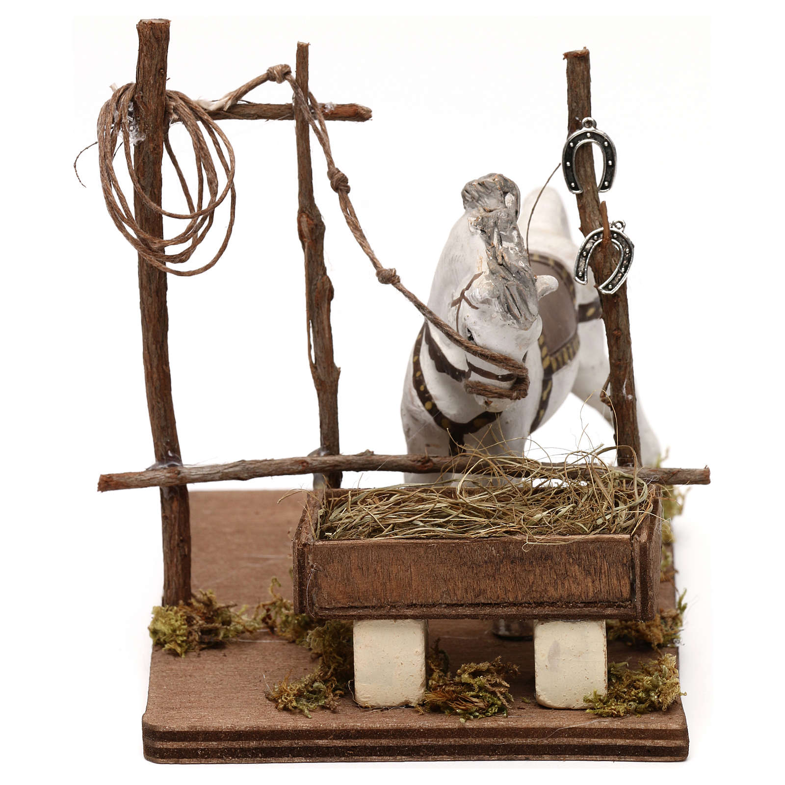 Horse with trough, Neapolitan Nativity scene 10 cm 4