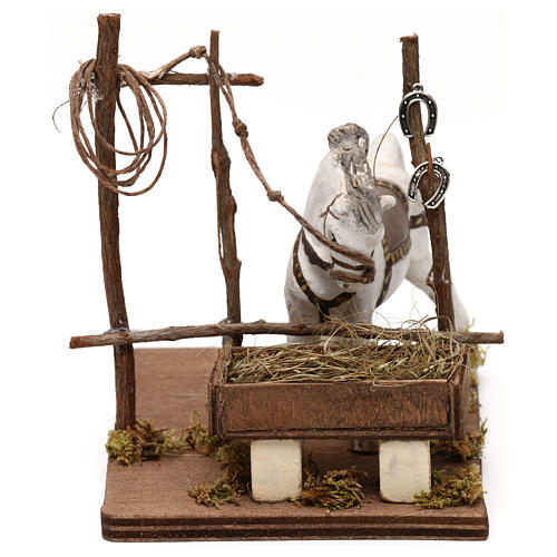 Horse with trough, Neapolitan Nativity scene 10 cm 1