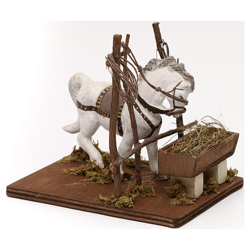 Horse with trough, Neapolitan Nativity scene 10 cm 3