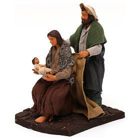 Marito che copre moglie con bambino presepe napoletano 12 cm s2