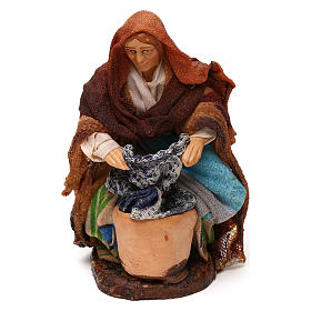 Neapolitan Nativity Scene: Neapolitan Nativity scene, kneeled woman washing clothes 12 cm