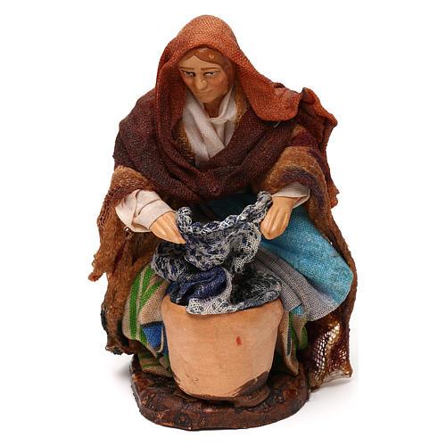 Neapolitan Nativity scene, kneeled woman washing clothes 12 cm 1