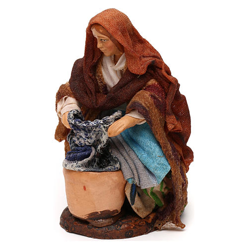 Neapolitan Nativity scene, kneeled woman washing clothes 12 cm 2