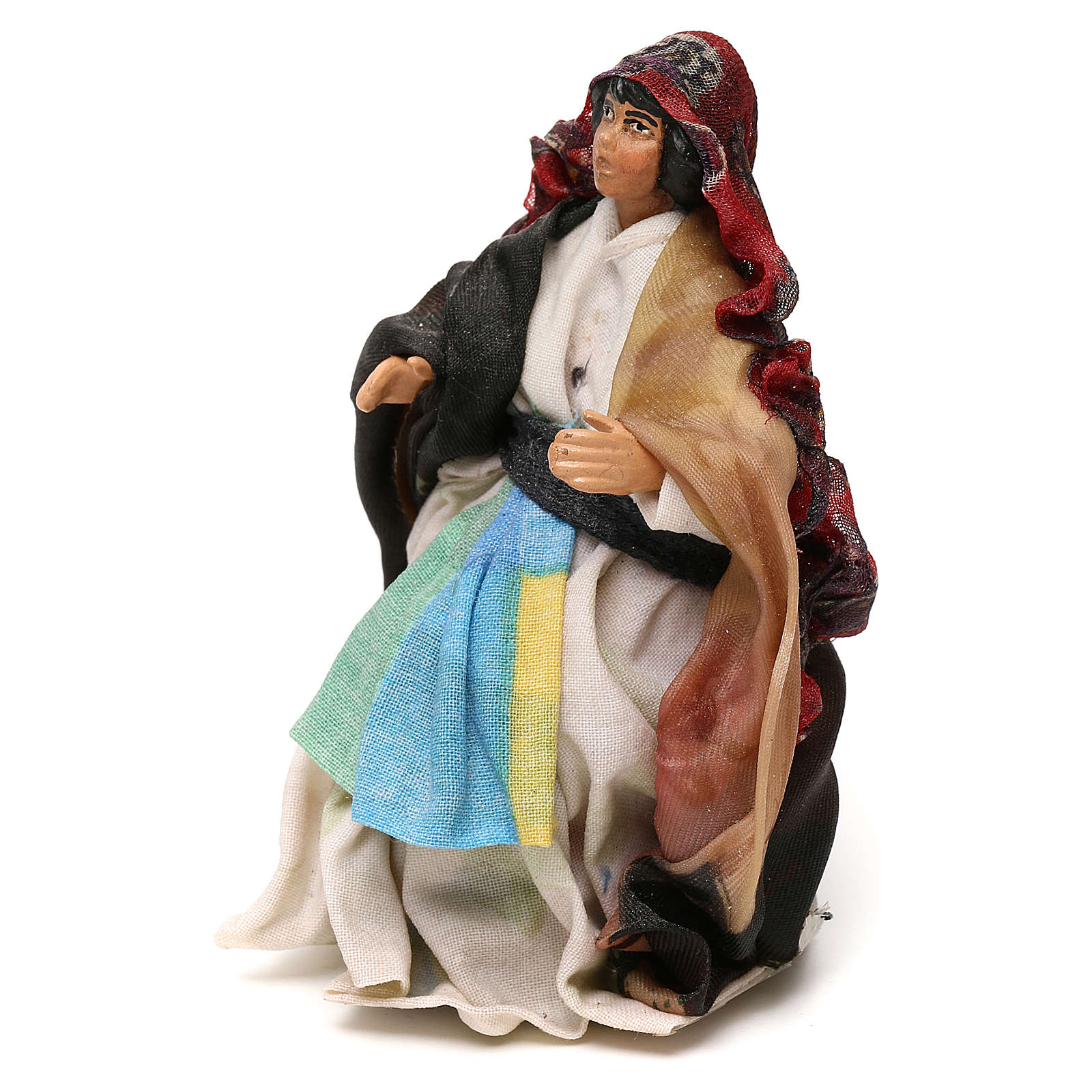 Neapolitan Nativity scene, sitting woman 12 cm 4
