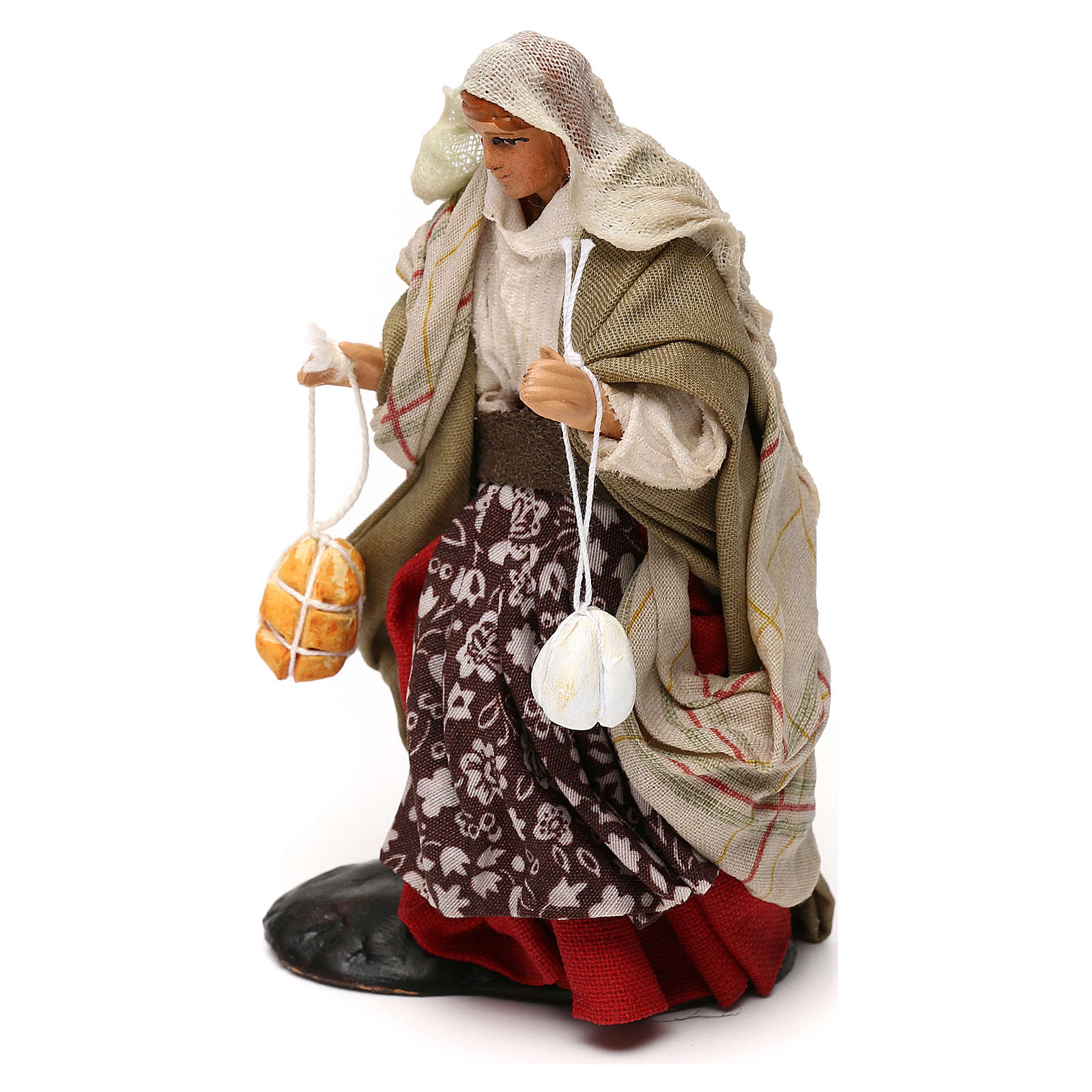 Neapolitan Nativity scene, woman with cheese 12 cm 4
