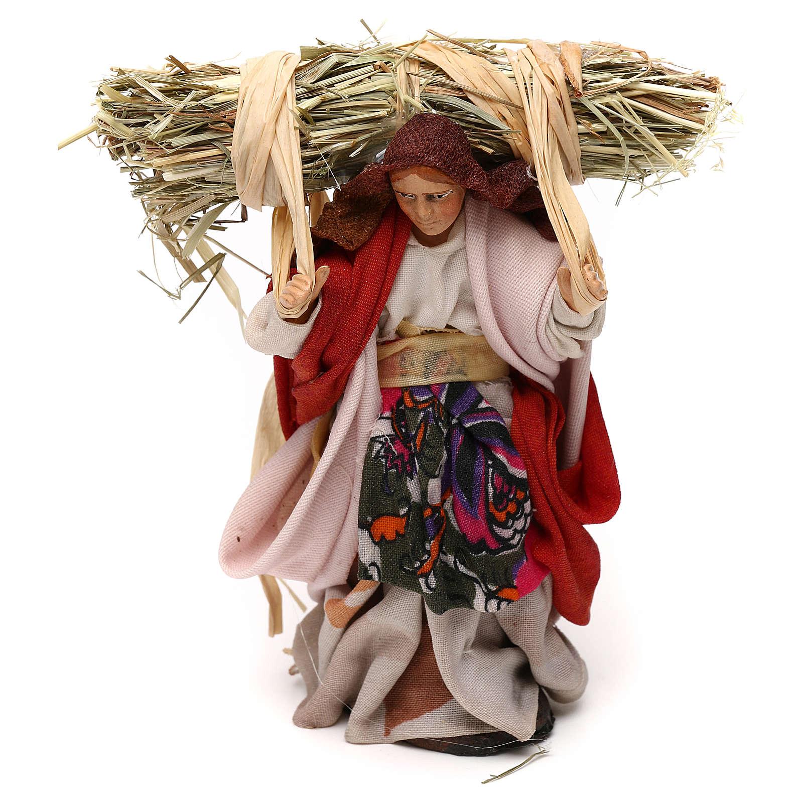 Neapolitan Nativity scene, woman with straw 12 cm 4