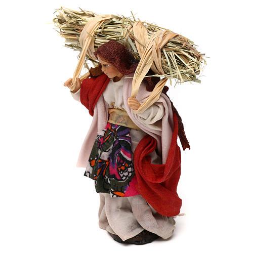 Neapolitan Nativity scene, woman with straw 12 cm 2