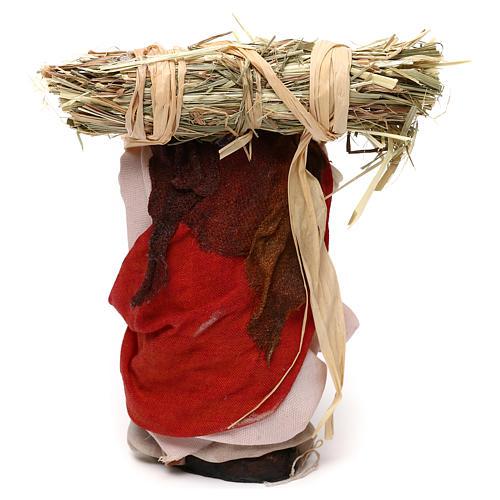 Neapolitan Nativity scene, woman with straw 12 cm 3