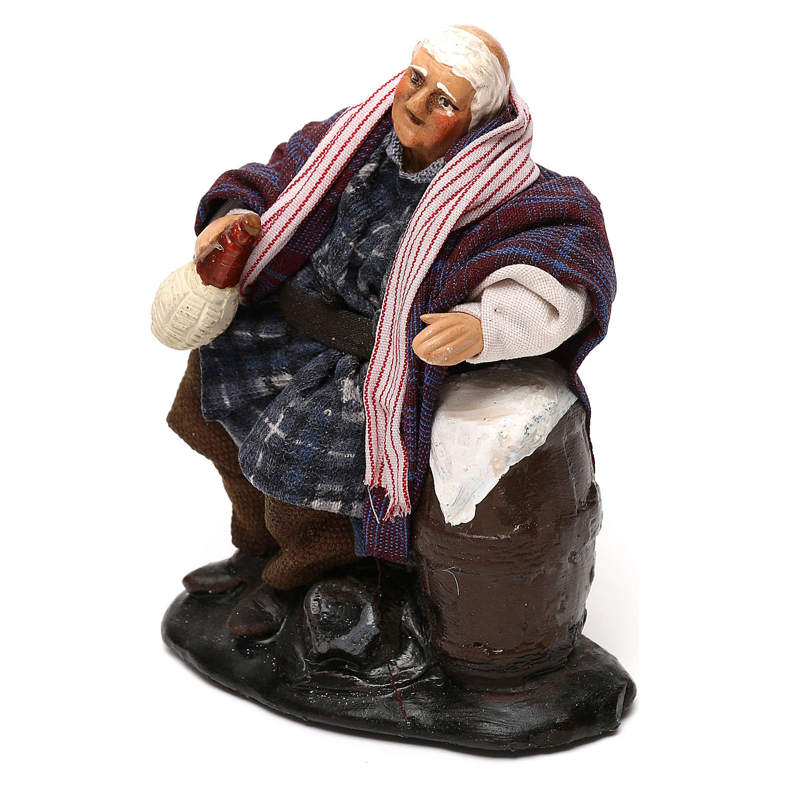 Neapolitan Nativity scene, drunkard with bottle and barrel 12 cm 4
