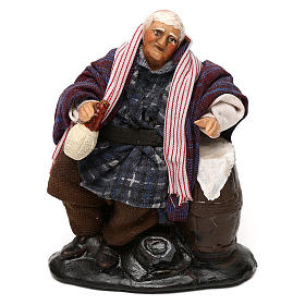 Neapolitan Nativity scene, drunkard with bottle and barrel 12 cm s1