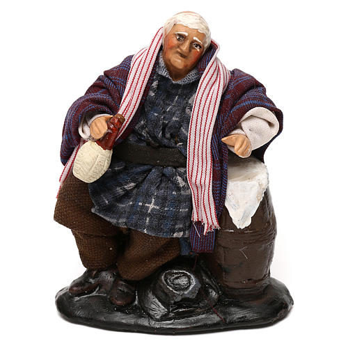 Neapolitan Nativity scene, drunkard with bottle and barrel 12 cm 1