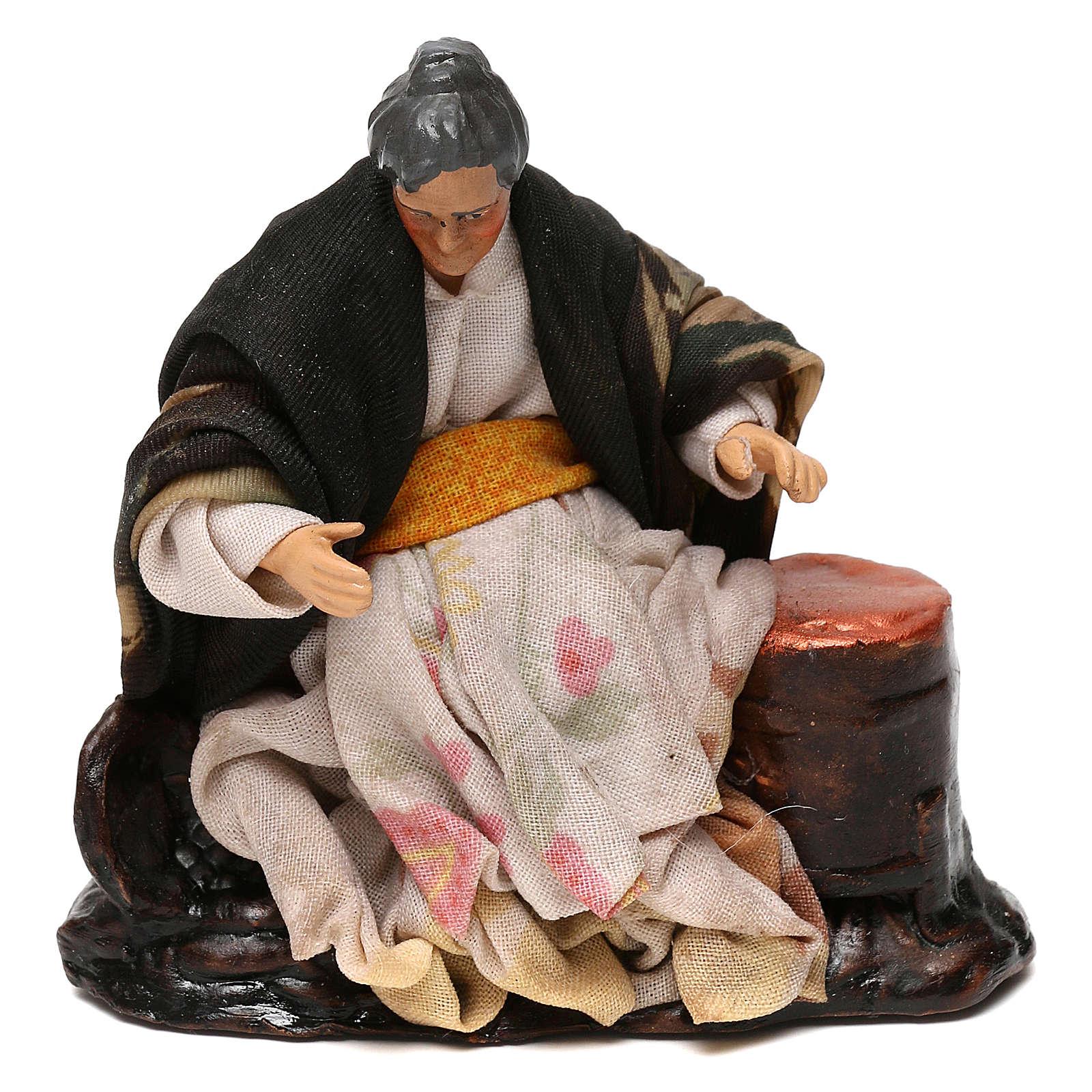Neapolitan Nativity scene, old woman selling roast chestnuts 12 cm 4