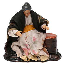 Neapolitan Nativity scene, old woman selling roast chestnuts 12 cm s1