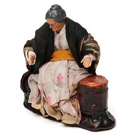 Neapolitan Nativity scene, old woman selling roast chestnuts 12 cm s2