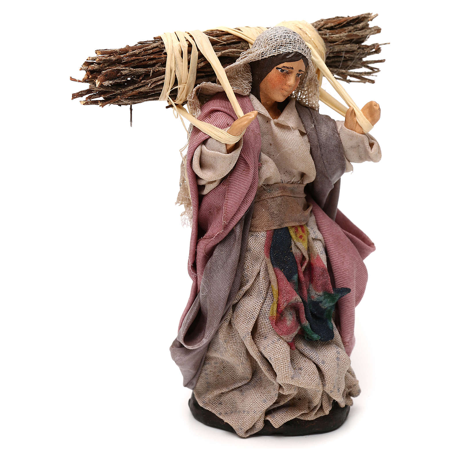 Neapolitan Nativity scene, woman with wood 12 cm 4