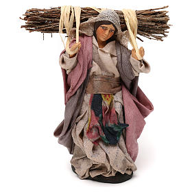 Neapolitan Nativity scene, woman with wood 12 cm s1