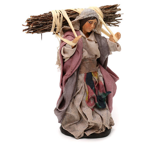 Neapolitan Nativity scene, woman with wood 12 cm 2