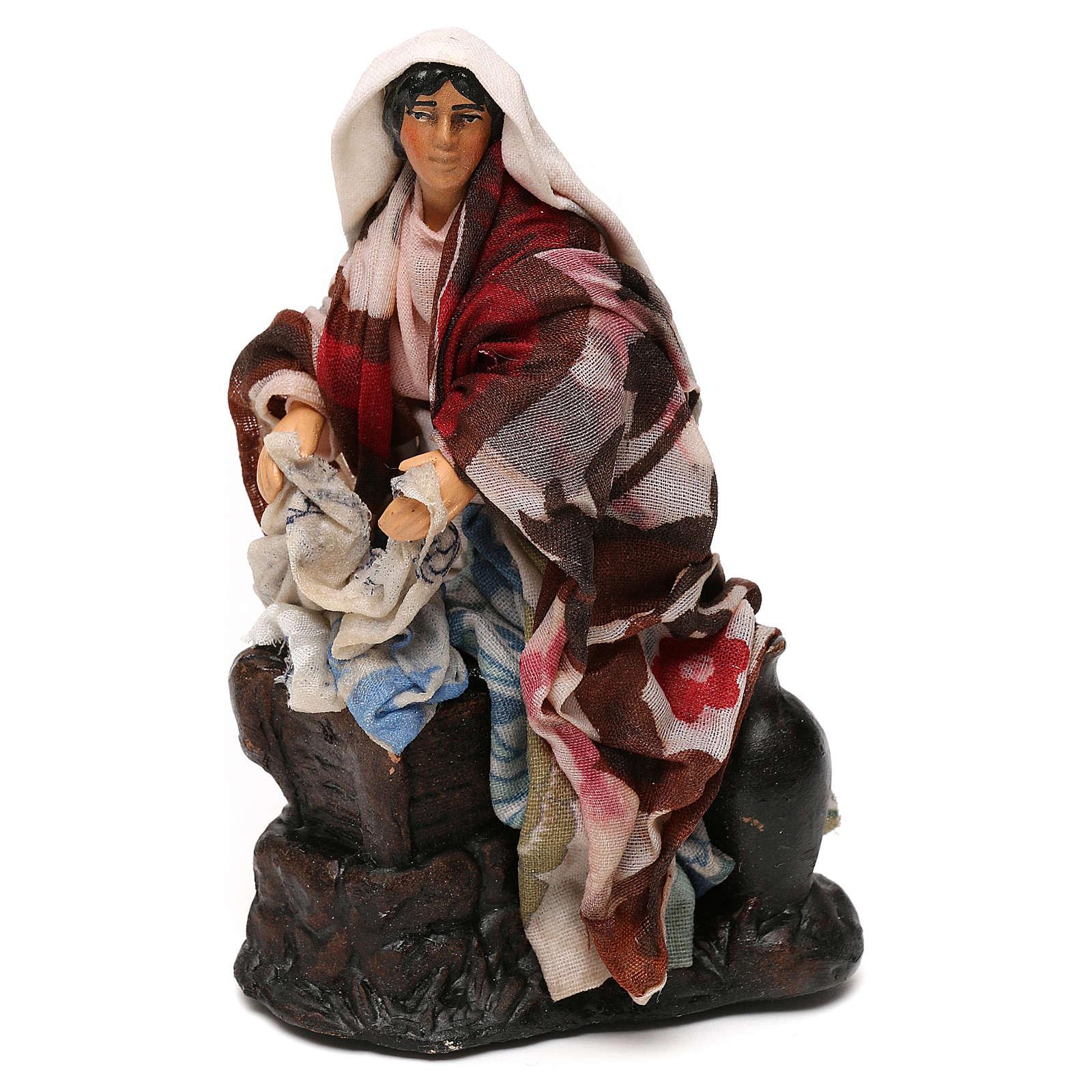 Neapolitan Nativity scene, woman washing clothes 12 cm 4