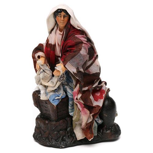Neapolitan Nativity scene, woman washing clothes 12 cm 1