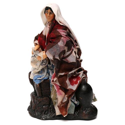 Neapolitan Nativity scene, woman washing clothes 12 cm 2