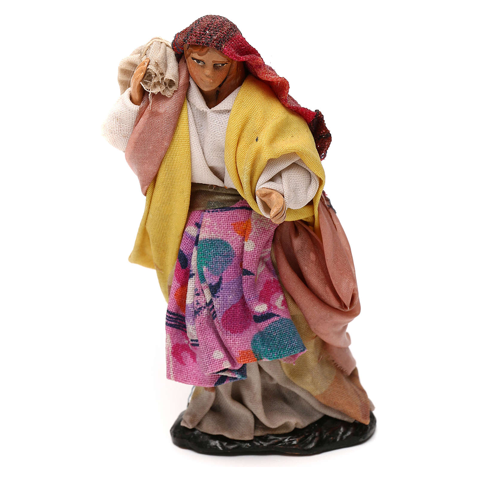 Neapolitan Nativity scene, woman with sack 12 cm 4