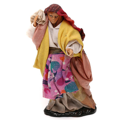 Neapolitan Nativity scene, woman with sack 12 cm 1