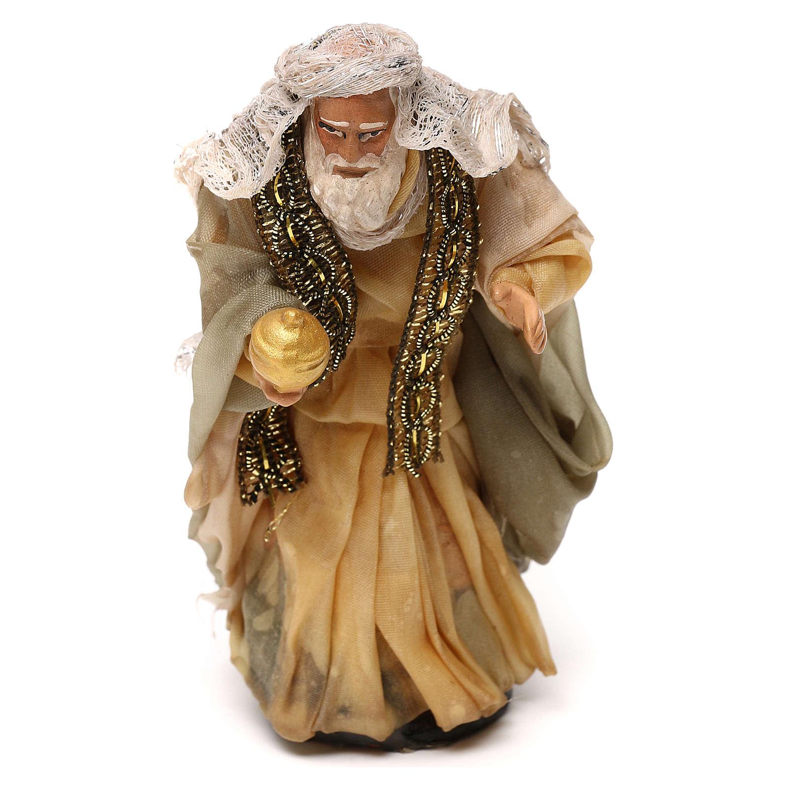 Neapolitan Nativity scene, Magi King with white beard 12 cm 4