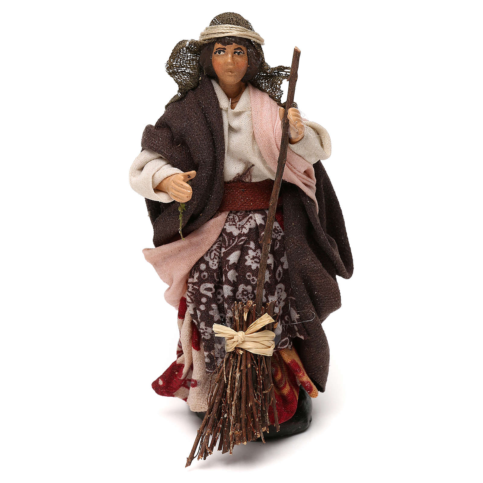 Neapolitan Nativity scene, woman with broom 12 cm 4