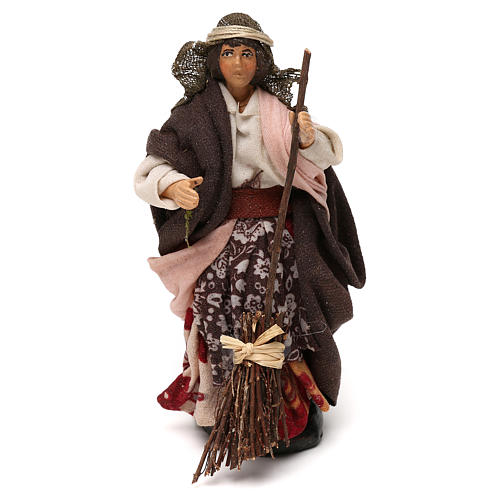 Neapolitan Nativity scene, woman with broom 12 cm 1
