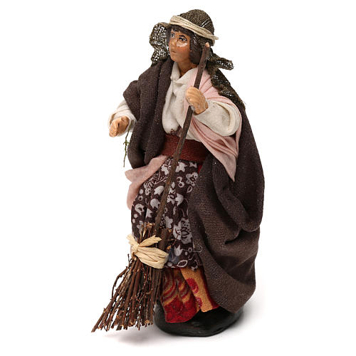 Neapolitan Nativity scene, woman with broom 12 cm 2