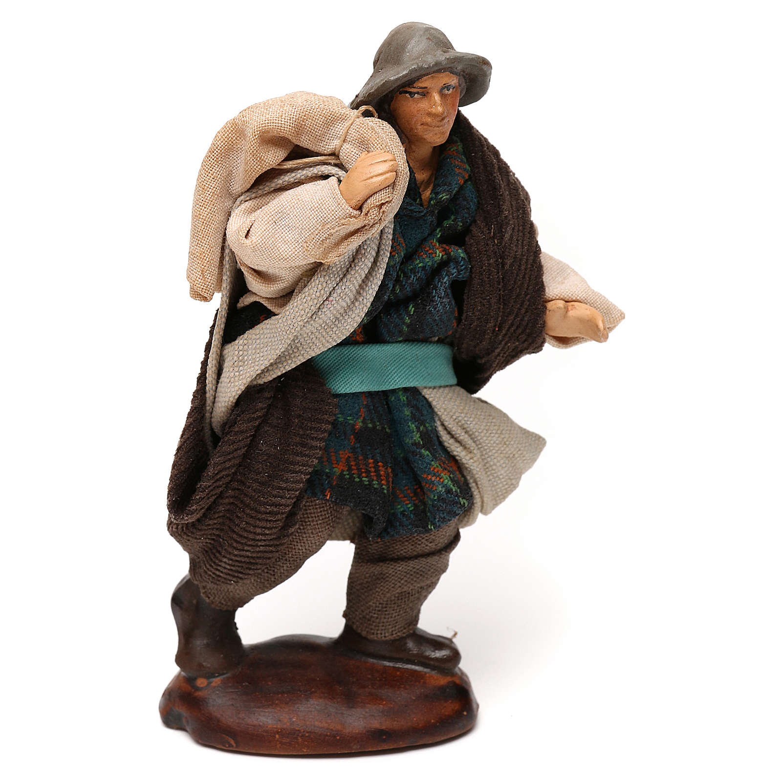 Neapolitan Nativity scene, man with sack 12 cm 4